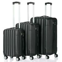 Set of 3 Lightweight Luggage Set ABS Travel Rolling Spinner Hard Shell Suitcases
