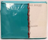 JCPenney Turquoise Blue Percale 50% Polyester Cotton Full Flat Vintage Bedding