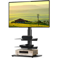 Universal TV Floor Stand with 3 Shelves and Swivel Mount for 27 55 inch TVs New $80.99