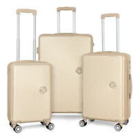 3 Set ABS Luggage Spinner Lightweight Durable Wheel Suitcase Champagne 24 26 28#x27;