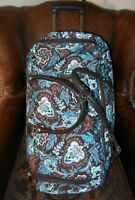Vera Bradley 17quot; Wheeled Luggage Carry On Bag Suitcase Blue amp; Brown Paisley Java
