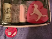 Victoria#x27;s Secret Pink Travel Pack Coconut Oil 4Pc Gift Set Body Wash Lotion