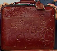 Patricia Nash VELINO 16quot; Wheeled LEATHER Trolley Bag Iron Red $399.00