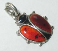 SMALL VINTAGE STERLING SILVER ENAMEL LADYBUG INSECT BUG CHARM