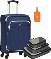 21quot; Carry on Luggage Rolling Suitcase Spinner Wheels with 3pcs Packing Cubes