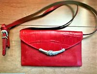 Brighton Red Leather Wallet Clutch with Removeable Shoulder Crossbody Strap