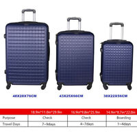Suitcase Lightweight Luggage With Spinner Wheels 3 Piece Set 20quot; 24quot; 28quot; Blue