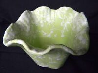 Vintage Shawnee Pottery Small Green/White Vase Planter #2508 Ruffled Rim