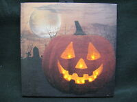Jack o Lantern Lighted Canvas Wall Decor Sign Halloween Moon On Off Switch New