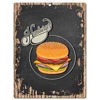PP0501 Hamburger Plate Chic Sign Bar Store Shop Cafe Restaurant Kitchen Decor