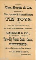 1876 ADVERT George Booth Tin Toys Philadelphia Shoe Building Cent Exposition