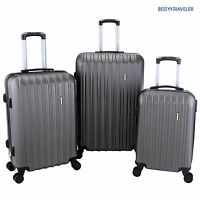 Set of 3 Luggage Set Travel Bag Trolley Spinner Carry On Suitcase 20