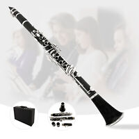 Black Ebonite B Flat Clarinet with 2 Barrels, Case, Mouthpiece , Care Kit, Glove