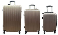 20quot; 24quot; 28quot; Hard Shell Suitcase Set 4 Wheel Luggage Spinner Lightweight GOLD