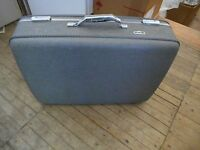 American Tourister Gray Tweed Large Hardcase Suitcase Vintage Preowned