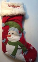 POTTERY BARN KIDS CHRISTMAS WOODLAND Snowman Stocking *ANTHONY* New RED