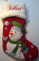 POTTERY BARN KIDS CHRISTMAS WOODLAND Snowman Stocking *ARCHER* New RED