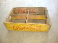 Vintage 1941 Wooden Yellow Coca-Cola Coke Soda Pop Bottle Crate Carrier Box