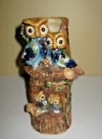 Mid Century Art Pottery Owl Family Tree Trunk Mushrooms Bud Vase