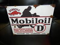Antique style porcelain look gargoyle mobil oil D motorcycle gas service sign