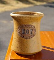 Roy Speckled Pottery Art Coffee Mug Hand Made Spun Thrown Signed by Artist