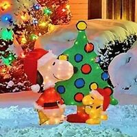 32 lighted snoopy woodstock with tree christmas yard decor new free ship - Lighted Snoopy Mailbox Outdoor Christmas Decoration