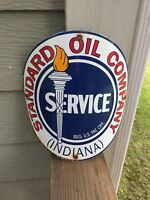 Standard Oil Company (Indiana) porcelain gas pump sign