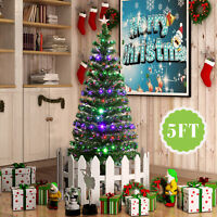5FT Pre-Lit Fiber Optic Artificial Christmas Tree LED colorful Lights with Stand
