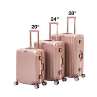 3 Piece Luggage Set Spinner Travel Bag Carry On Suitcase with TSA Lock Rose gold