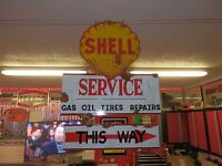 Antique style porcelain look Shell oil dealer service gas pump 2 piece sign set