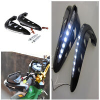 2PCS Black Motorcycle ATV Handlebar Brush Guards Handguards White LED Light