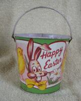 1940s Era Tin Litho Easter Bunny and Chick Candy Bucket Container
