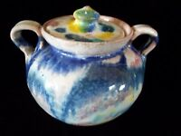 Vintage Smiths Handcrafts Pottery Virginia 2 handle Ceramic pot with Lid