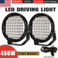 Pair 9inch 450W Cree LED Driving Lights Work Spot Round Black SUV ATV Offroad
