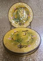 VINTAGE FRENCH Majolica Barbotine Cherry Plates Set of 4  - 6