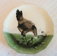 Antique French Majolica Plate Hen And Chicks Circa 1900 Original French Mark