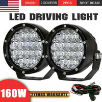 Pair 5INCH 160W Cree LED Driving Lights Round Spotlight HID Offroad ATV SuperLUX