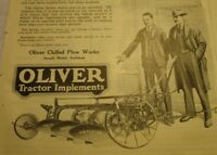 1919 OLIVER TRACTOR IMPLEMENTS. SOUTH BEND INDIANA ADVERTISING AD.
