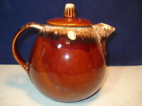 HULL BROWN DRIP OVEN PROOF USA TEA POT WITH LID 6 1/2