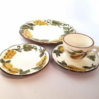 Stangl Hand Painted Sculptured Fruit Pears 4 Piece Place Setting Amber Green