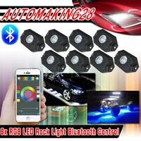 2nd-Gen RGB LED Rock Lights with Bluetooth Controller 8 Pod Neon LED Multicolor