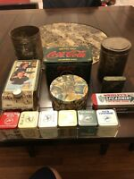 Vintage new metal tin boxes. Collection of 14 Tins And Cans. Some New, Some Old