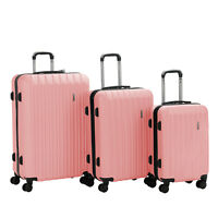 3PCS Luggage Set Travel Bag Trolley Spinner Carry On Rolling Suitcase Pink