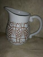 White food safe Pitcher with fish design