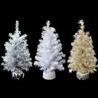 PRE-LIT 24 INCH table-top EASTER TREES / PINK TINSEL / SILVER TINSEL / WHITE