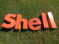 Shell Oil gas station lighted canopy signs, c2000, two sets