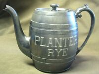 Planter Rye Whisky Silver Plate Pre Prohibition Pub Water Pitcher Homan Mfg Co
