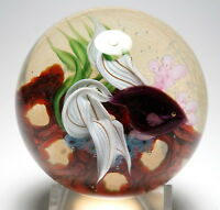 Daniel Salazar Lundberg Studios 2007 Dark Red Beta Fish Paperweight