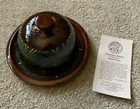 Signed Eldreth Pottery 2004 Redware Round Cheese Butter Dish Handpainted