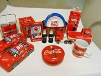 Coca Cola Vintage Collectibles 17 items,tin cars, toy truck, clock tins bowls!!